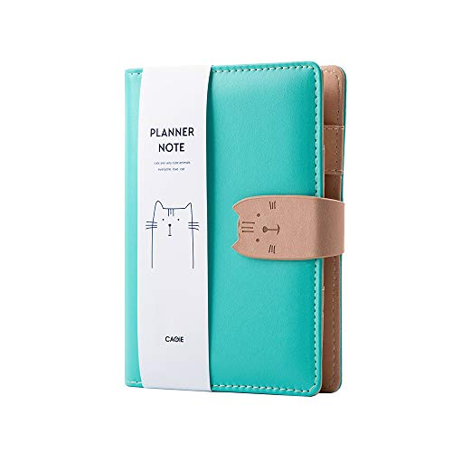 Leather Binder Journal Refillable Cat Notebook 6-Ring Binder Spiral Diary A6 Traveler Notebook 7.3'x 5.1'(Green)