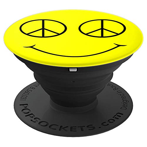 happy yellow smile face outline black peace symbol eyes sign - PopSockets Grip and Stand for Phones and Tablets