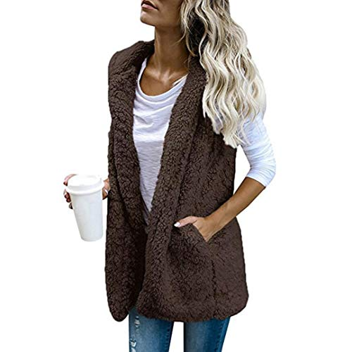 HTHJSCO Women's Cardigan Jacket Coat, Casual Sherpa Fleece Lightweight Fall Warm Vest Pockets (Coffee, XL) by HTHJSCO