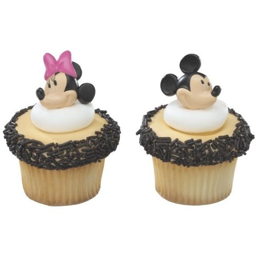 Minnie and Mickey Mouse Decorative Cake Cupcake Ring Toppers - 24 pcs ()