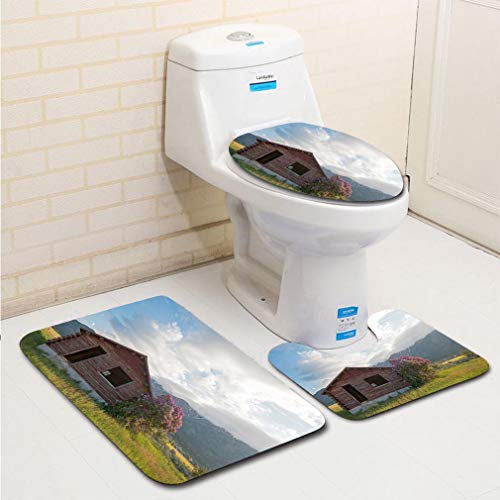MTSJTliangwan 3-Piece Bathroom Set, Bathroom Rug + Contour pad + lid Toilet seat, Abandoned Log Cabin in Alpine Wyoming USA Comfortable Flannel Rug