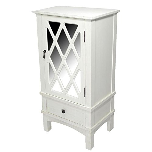Heather Ann Creations The Cottage Collection Modern Style Wooden Living Room Single Door and Drawer Accent Cabinet with Glass Lattice Inserts, White