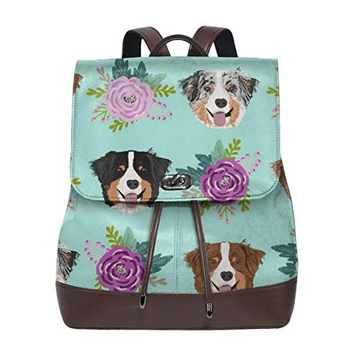 Fashion Leather Backpack Aussie Dog Floral Australian Shepherd Dogs Mint lila Purse Waterproof Anti Rucksack PU Leather Bags