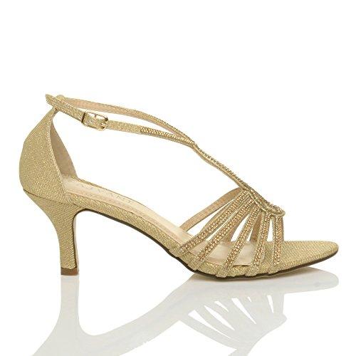 Womens Ladies mid Heel Strappy Diamante Glitter Bridal Wedding Evening t-Bar Sandals Shoes Size Gold 2eAr3r9F
