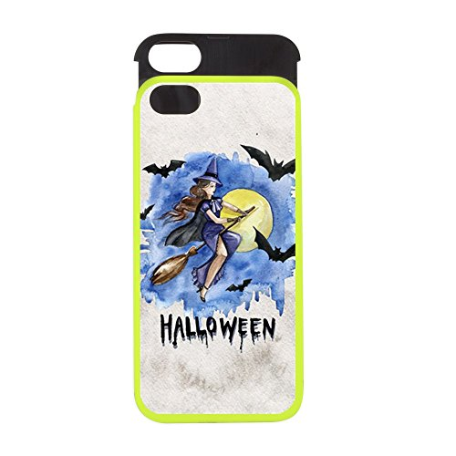 [iPhone 5 or 5S Wallet Case Lime and Black Halloween Witch Riding Broom Bats] (Makeup For A Bat Costume)