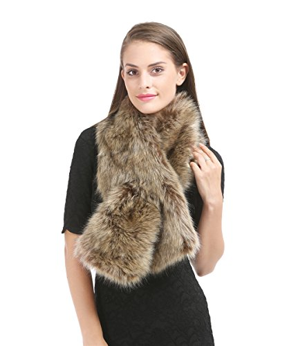 Saferin Neck Scarf Faux Fur Shawl Wrap Stole Cape Clothes Decor for Women(SFOX-Paille) ()