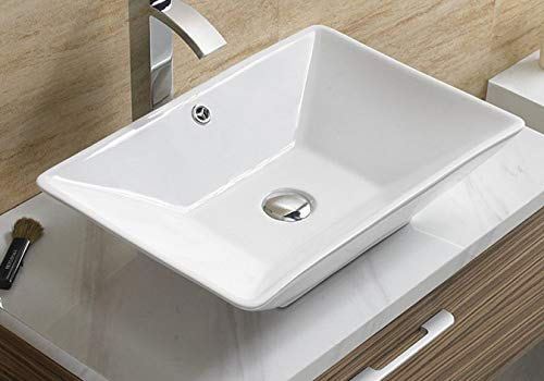 - Bathroom White Ceramic Porcelain Vessel Vanity Sink 7880 +FREE Chrome Pop Up Drain/Over flow