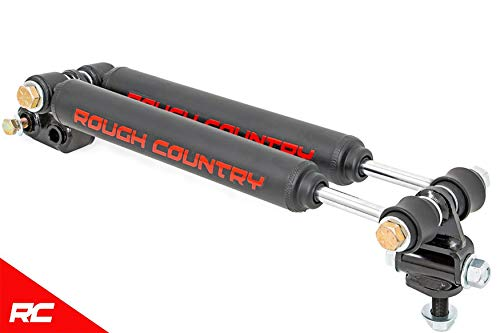 (Rough Country 87308 Dual Steering Stabilizer (for 2.5-6.5-inch Lifts w/ Black Shocks - Select Years: Jeep Cherokee XJ, Comanche MJ, Wrangler TJ 4WD))