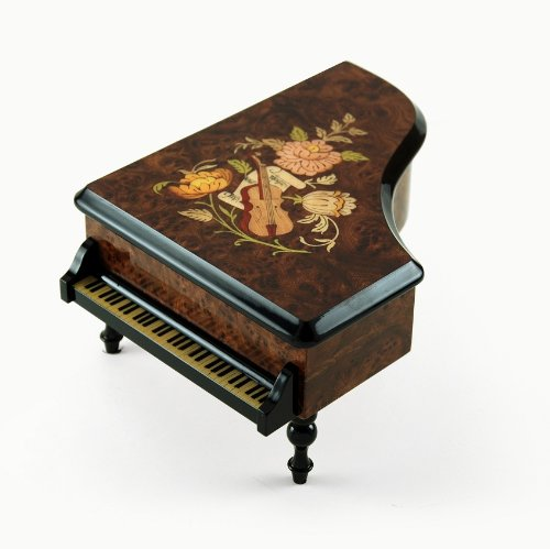 Gorgeous Burl-Elm Music and Floral Theme Grand Piano