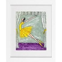 Green Ballerina Picture - Ballet Nursery Girl Children Dance Framed Art Print