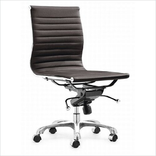 Modern Ribbed Mid Back Armless Management Office Chair - Espresso