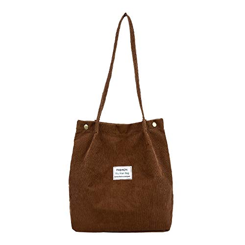 lotus.flower Lovely Women Corduroy Pure Color Casual Shoulder Bag Satchel Tote Hand Bag Travel Bag (Coffee)