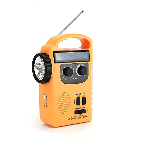 (Zoostliss Emergency Weather Solar Hand Crank Self Powered Radio with LED Flashlight iphone Smart Phone Chager)