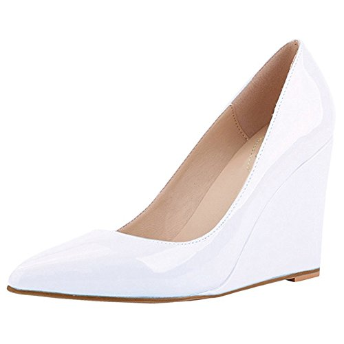 UK Keilpumps High Damen Weiß 11 Slip Heels EKS 3 Klassische Größe On Lackspitze IgPHnOwOq