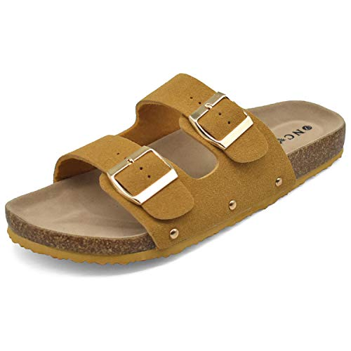 Flat Slide Sandals for Women with Arch Support 2 Strap Adjustable Buckle Slip on Slides Shoes Non Slip Rubber Sole -