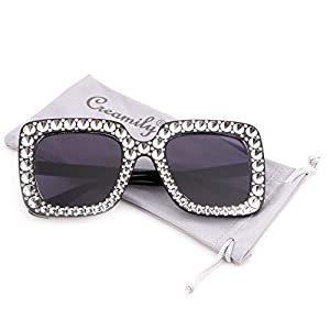 Creamily Women Oversized Sunglasses Sparkling Square Eyeglasses Thick Frame Glasses Fashion Shade (Black frame Gray lens)