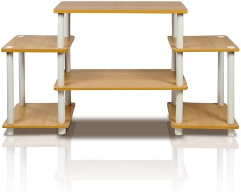 Furinno Turn-N-Tube No Tools Entertainment TV Stands, Beech/White