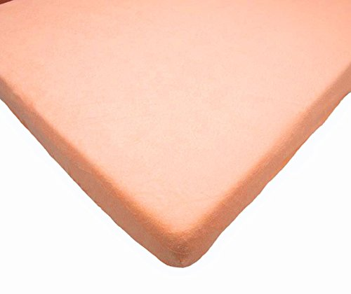 Terry Towelling Fitted Sheet 160 x 70 cm Fits Junior Toodler Bed/Cotbed - APRICOT Baby Comfort