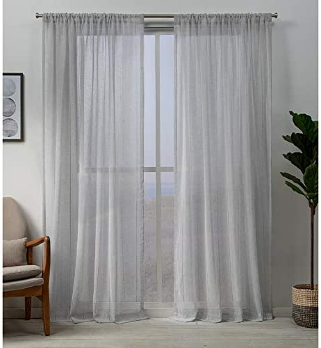 Exclusive Home Curtains Hemstitch Sheer Embellished Rod Pocket Top Curtain Panel Pair, 54×108, Silver