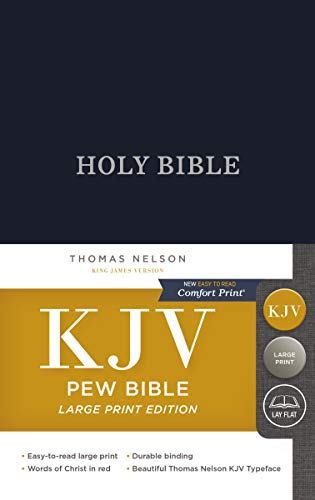 KJV, Pew Bible, Large Print, Hardcover, Blue, Red Letter Edition, Comfort Print: Holy Bible, King James Version (Used Pews Sale Church For)