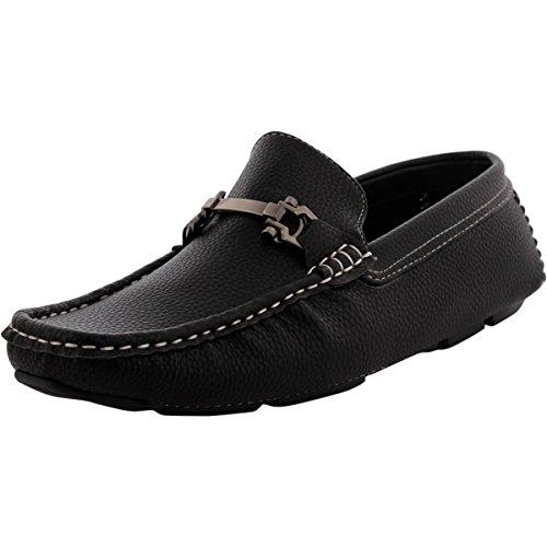 Brixton - Men's Buckle Moc Toe Driving Shoes - Black - 11