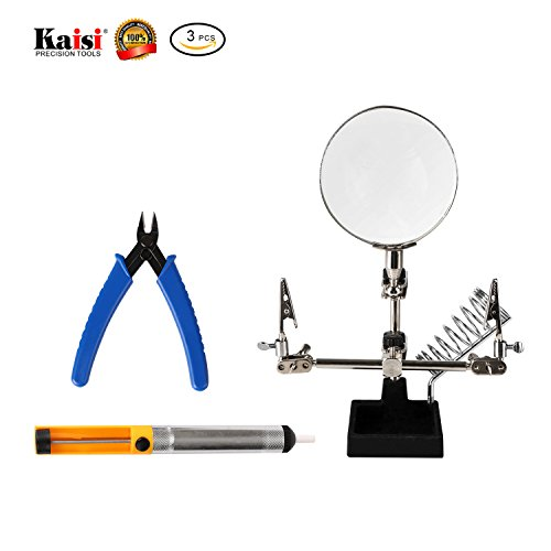 Angel Gun Boards (Repair Tools 3 in 1 Repair Set Helping Hands Magnifying Glass, Desoldering Pump and Wire Cutter Pliers with High Precision Professional and Ideal Soldering Tools By Kaisi)