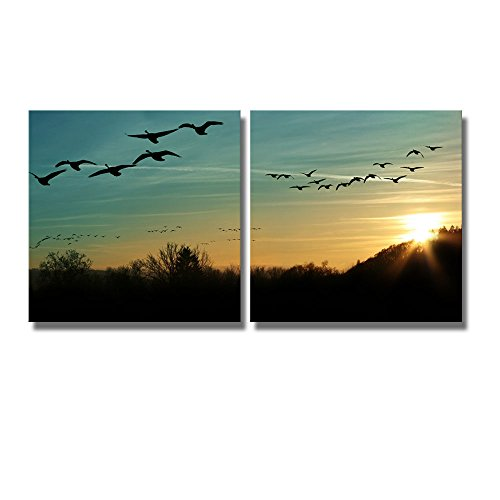 Flock of Migrating Canada Geese Flying at Sunset in a V Formation Wall Decor x 2 Panels