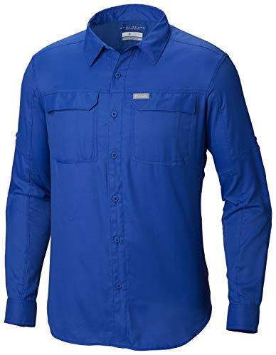Columbia Men's Silver Ridge 2.0 Plaid Long Sleeve Shirt, UV Sun Protection, Moisture Wicking Fabric, Azul Dobby Print, Small