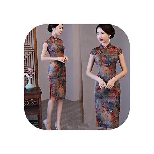 Qipao Spring Summer Dress Women Elegant Print Cheongsams Female Party Traditional Dress,6023,S