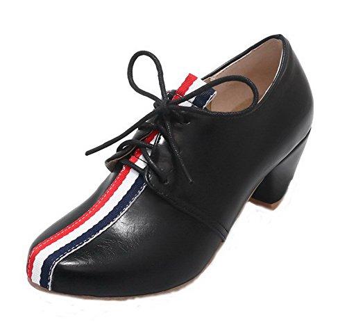 VogueZone009 Women's Lace-up Kitten-Heels PU Assorted Color Pumps-Shoes Black