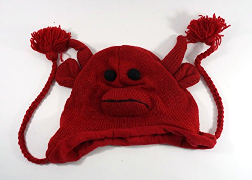 Hand Knitted Wool Red Bull Animal Hat With Tassles Fleece Liner One Size