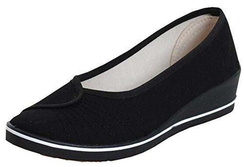 Krankenschwestern Schuhe weiße, flache Schuhe arbeiten Schuhe Steigung mit Frauensegeltuchschuhe Schwarz