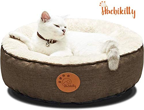 Cat Beds Indoor Cats Medium Small Cat Bed Machine Washable,18 HACHIKITTY Washable Donut Cat Bed Round Brown