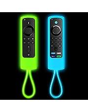 [2 Pack] Firestick Remote Cover,Replacement for FireStick Streaming Media Device | Firesticksticktv 4k+ | FireStick 4K | Firetvstick Lite | FireCube | (Sky Blue Glow & Green Glow)