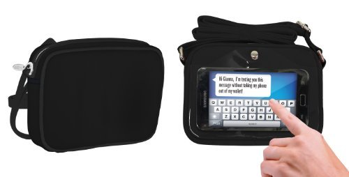 Charm 14 Touchscreen Cross Body Bag Cell Phone Carrying Case - Retail Packaging - Midnight Black
