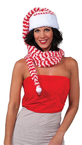 Rubie's Men's Clausplay Candy Cane Striped Long Hat and Scarf, Red/White, One -