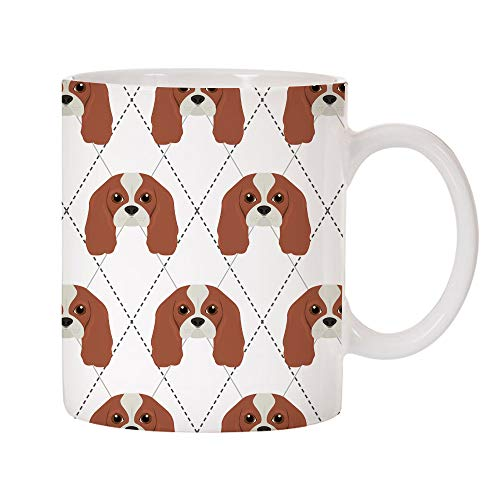 Mystic Sloth Adorable Dog Breed Specific Argyle Pattern 11oz Ceramic Coffee Mug (Cavalier King Charles Spaniel)