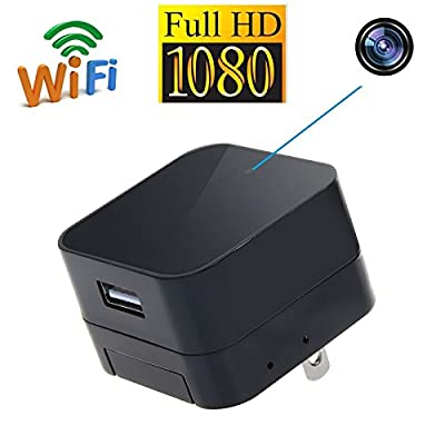 ALON HD 1080P WIFI IP Hidden Camera Wall Plug Mini USB Charger Spy Cam Wireless Nanny Adapter Cameras with Audio Remote View via iPhone/Android APP, PC, Tablet Support Video Loop Recording from ALON