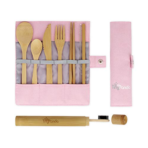 Bamboo Utensils | Bamboo Travel Cutlery Set | Reusable Utensils With Case | Camping Utensils To-Go | Bamboo Flatware Set | Travel Utensil Set | Eco Friendly Zero Waste Fork Spoon Knife Set Tiny Panda