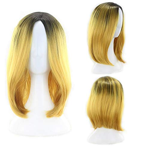 Synthetic Short Wigs For Women Straight Ombre Brown Gray Bob Hair Synthetic,Yellow,14inches]()