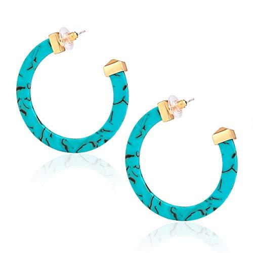 Pierced Earrings Lucite (PHALIN JEWELRY Hoop Earrings for Women Alloy Tip Acrylic Earrings Boho Statement Tortoise Shell Resin Stud Dangle Earring (D Green))