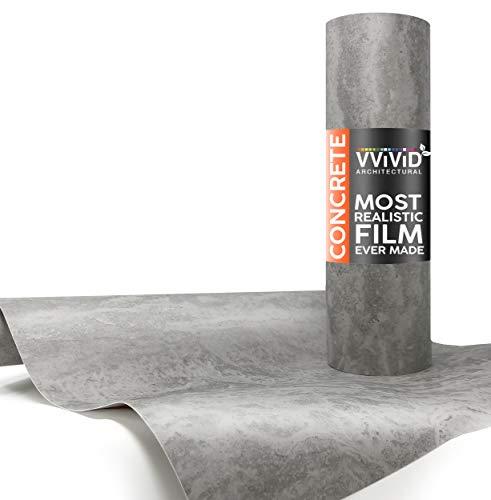 VViViD Grey Concrete Textured Finish Vinyl Sheet Film (16 Inch x 6.5ft) (Vinyl Concrete)