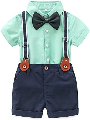 Abolai Baby Boy Summer Cotton Gentleman Long Sleeve Bowtie Romper Suspenders Shorts Outfit Set