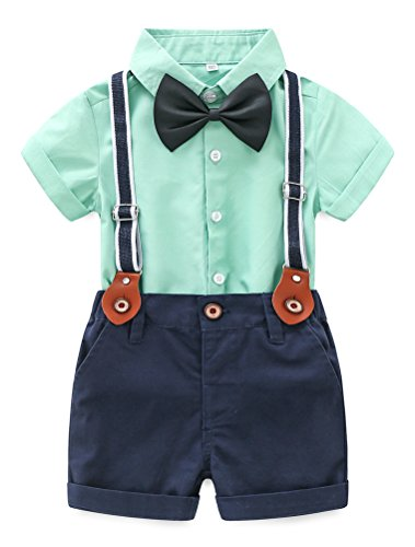 Baby Boy Summer Cotton Gentleman Short Sleeve Bowtie Romper Suspenders Shorts Outfit Set Style2 Green ()