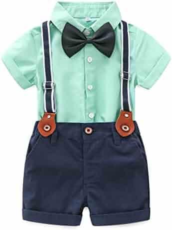 939bd73aa Baby Boy Summer Cotton Gentleman Long Sleeve Bowtie Romper Suspenders  Shorts Outfit Set