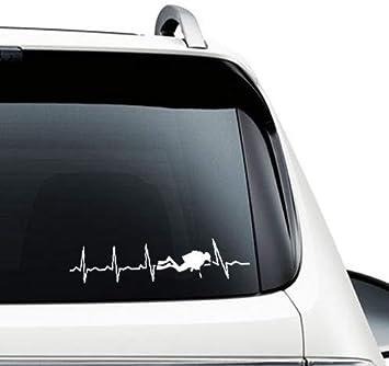 Supersticki Herzschlag Heartbeat Taucher Tauchen Diving 25cm Aufkleber Autoaufkleber Sticker Decal Wandtattoo Aus Hochleistungsfolie Uv Waschanlagenfest Auto