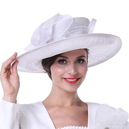 Kueeni Women Church Hats Outwear Outfits Hat White Wide Brim at Amazon  Women s Clothing store  33cf00fb0561