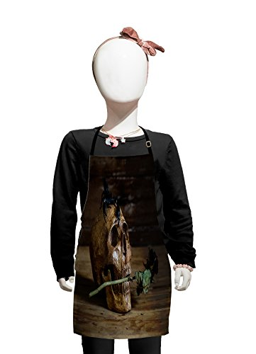Lunarable Gothic Kids Apron, Still Life Skull and Rose Periods with a Scorpion on The Head Skeleton Horror Themed Art, Boys Girls Apron Bib with Adjustable Ties for Cooking Baking and Painting, Brown]()