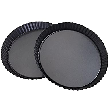 Attmu Non-Stick 8 Inches Removable Loose Bottom Quiche Pan, Tart Pie Pan, Round Tart Quiche Pan with Removable Base, Set of 2