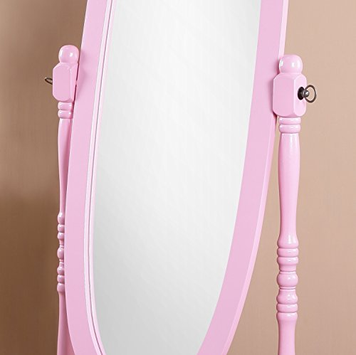 Roundhill Furniture 3488PI Queen Anna Style Floor Cheval Mirror, Pink by Roundhill Furniture (Image #1)
